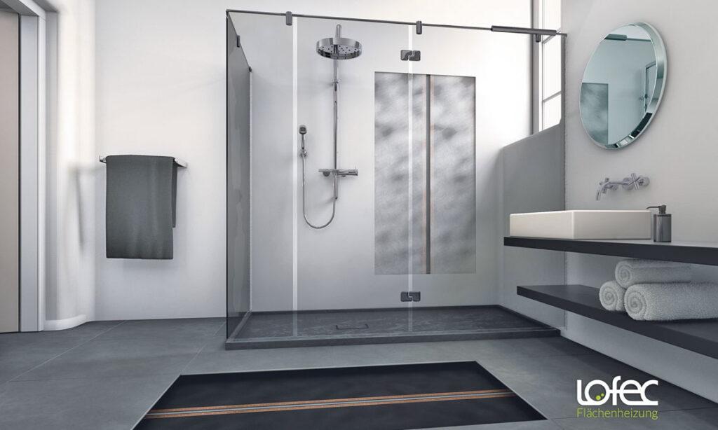 Brandt-Bodenbeläge verlegt Lofec Flächenheizungen im Badezimmer.